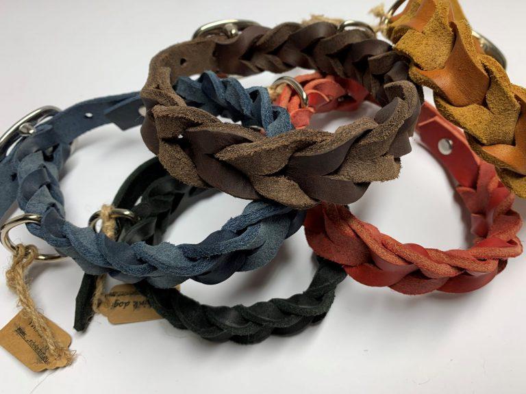 Halsband aus Fettleder geflochten mit Schnalle