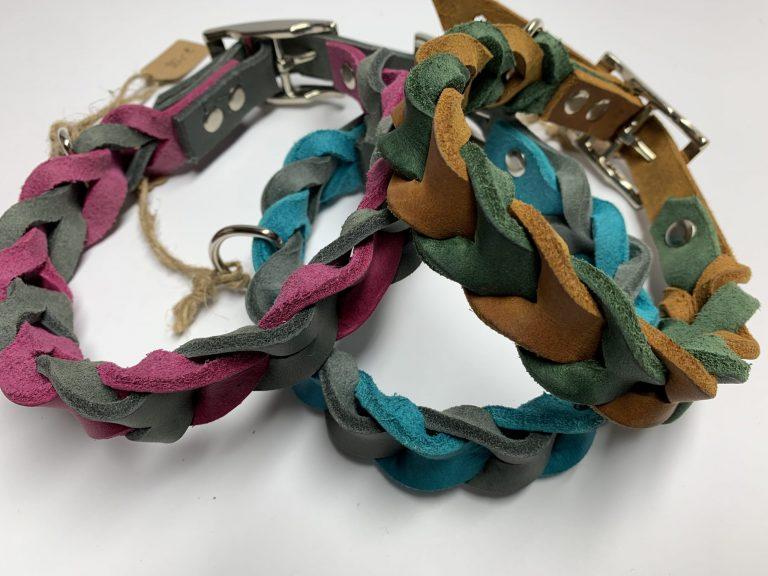 Halsband aus Fettleder geflochten mit Schnalle zweifarbig