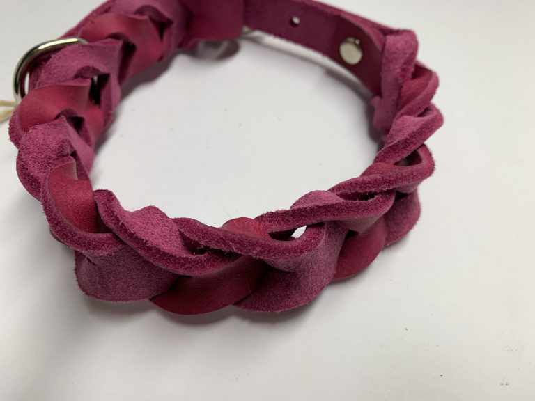 Fettlederhalsband pink