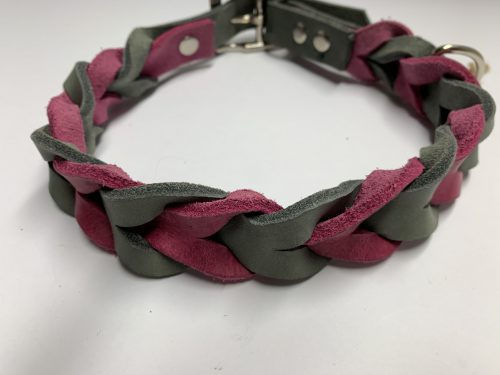 Fettlederhalsband pink/grau